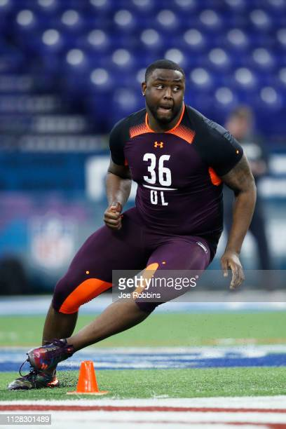 Offensive lineman Greg Little of Ole Miss works out during day two of the NFL Combine at Lucas Oil Stadium on March 1 2019 in Indianapolis Indiana