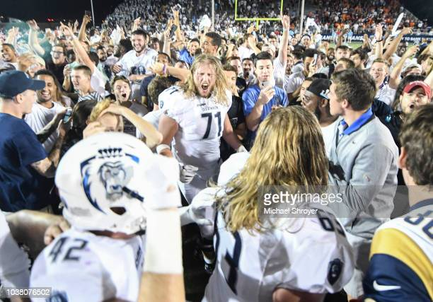 Offensive lineman Isaac Weaver of the Old Dominion Monarchs celebrates the victory against the Virginia Tech Hokies at S B Ballard Stadium on...