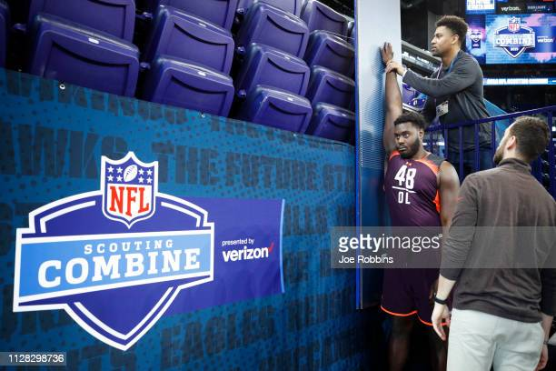 Offensive lineman Isaiah Prince of Ohio State has measurements taken during day two of the NFL Combine at Lucas Oil Stadium on March 1, 2019 in...