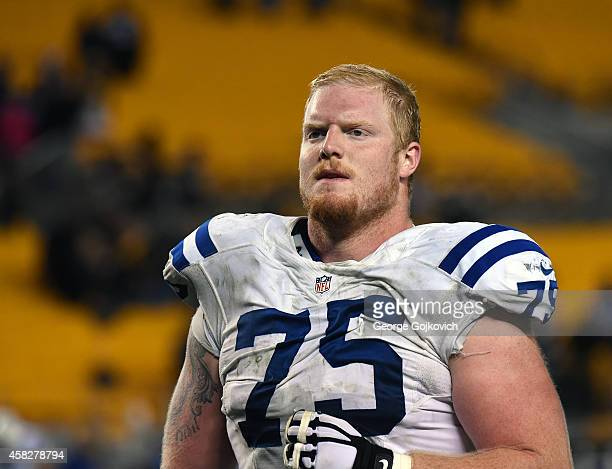 Offensive lineman Jack Mewhort of the Indianapolis Colts looks on from the field after a game against the Pittsburgh Steelers at Heinz Field on...