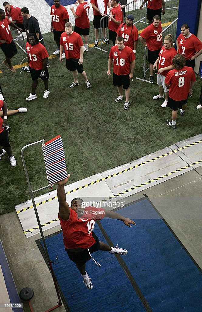 Offensive lineman Jahri Evans participates in vertical leap drill during the NFL Scouting Combine, Feb. 25, 2006, in Indianapolis, Indiana.