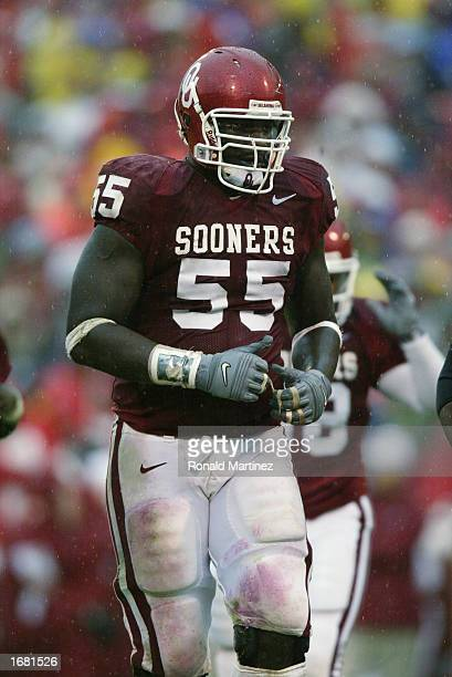 Offensive Lineman Jammal Brown of the Oklahoma Sooners looks on against the Iowa State Cyclones during the game on October 19 2002 at Gaylord...