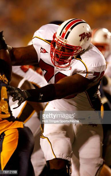 Offensive lineman Jared Gaither of the Maryland Terrapins blocks against the West Virginia Mountaineers at Milan Puskar Stadium the home of...