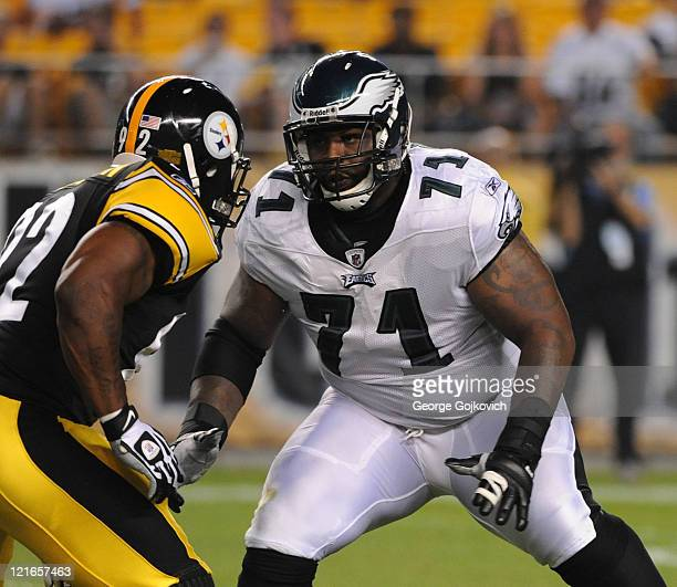 Offensive lineman Jason Peters of the Philadelphia Eagles blocks against linebacker James Harrison of the Pittsburgh Steelers during a preseason game...