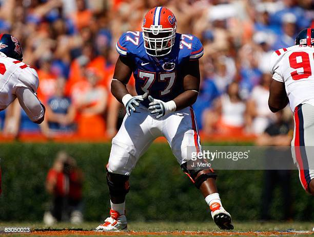Offensive lineman Jason Watkins of the Florida Gators looks for a block against the Mississippi Rebels during the game on September 27, 2008 at Ben...