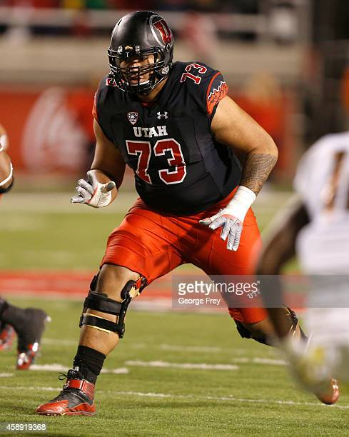 Offensive lineman Jeremiah Poutasi of the Utah Utes look to block against the Oregon Ducks during the first half of an NCAA football game November 8...