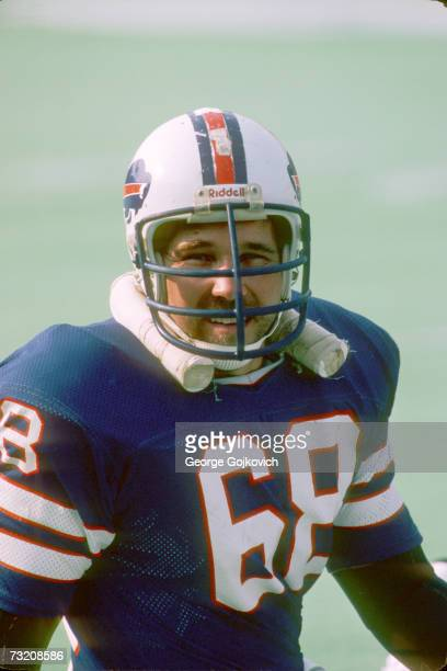 Offensive lineman Joe DeLamielleure of the Buffalo Bills on the sideline during a National Football League preseason game at Rich Stadium in August...