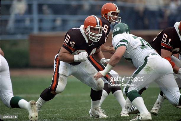 Offensive lineman Joe DeLamielleure of the Cleveland Browns blocks against the New York Jets at Municipal Stadium on October 14 1984 in Cleveland Ohio