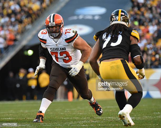 Offensive lineman Joe Thomas of the Cleveland Browns looks to block against linebacker Jarvis Jones of the Pittsburgh Steelers during a game at Heinz...