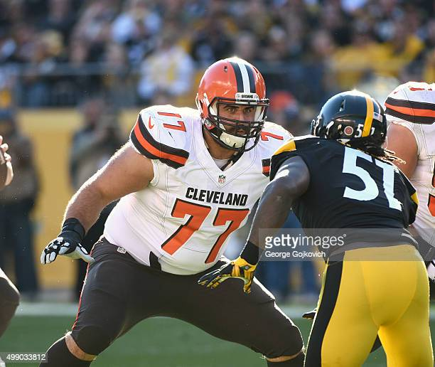 Offensive lineman John Greco of the Cleveland Browns looks to block against linebacker Sean Spence of the Pittsburgh Steelers at Heinz Field on...
