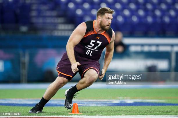Offensive lineman Jonah Williams of Alabama works out during day two of the NFL Combine at Lucas Oil Stadium on March 1 2019 in Indianapolis Indiana