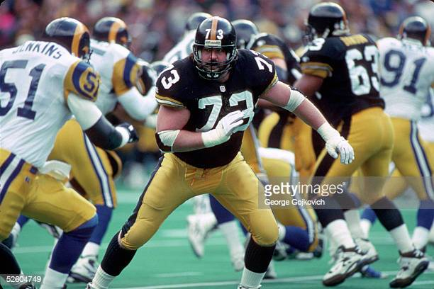 Offensive lineman Justin Strzelczyk of the Pittsburgh Steelers blocks against the St. Louis Rams at Three Rivers Stadium on November 3, 1996 in...