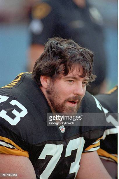 Offensive lineman Justin Strzelczyk of the Pittsburgh Steelers on the sideline during a game against the San Diego Chargers at Three Rivers Stadium...