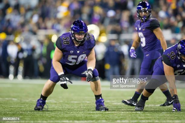Offensive lineman Kaleb McGary of the Washington Huskies gets set for the next play in the 3rd quarter of a game between the Washington Huskies and...
