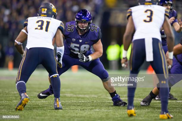 Offensive lineman Kaleb McGary of the Washington Huskies prepares to block Raymond Davidson of the Cal Bears in the 3rd quarter of a game between the...