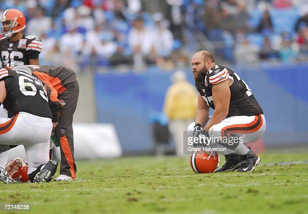 Offensive Lineman Kevin Shaffer of the Cleveland Browns rests during the game against the Carolina Panthers on October 8 at Bank of America Stadium...