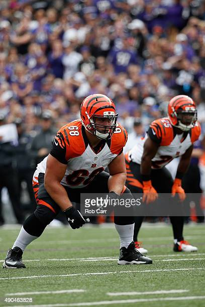 Offensive lineman Kevin Zeitler of the Cincinnati Bengals lines up against the Baltimore Ravens at MT Bank Stadium on September 27 2015 in Baltimore...