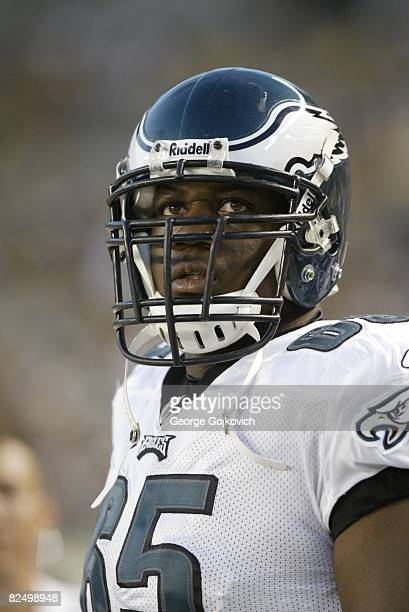 Offensive lineman King Dunlap of the Philadelphia Eagles looks on from the sideline during a preseason game against the Pittsburgh Steelers at Heinz...
