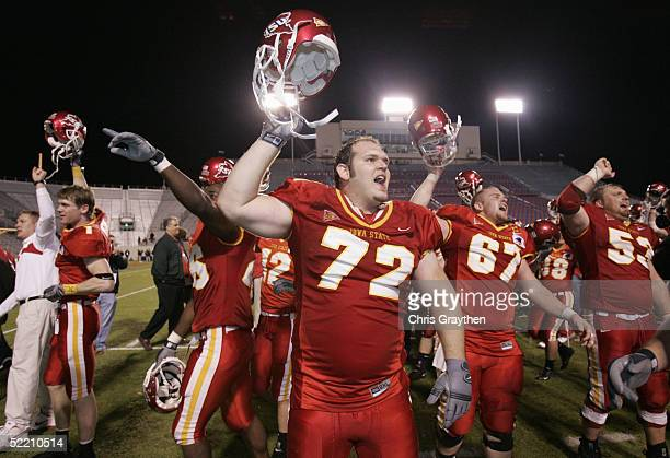 Offensive lineman Kory Pence of the Iowa State University Cyclones celebrates after winning the Independence Bowl against the Miami University of...
