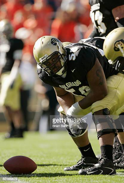Offensive lineman Mark Fenton of the Colorado Buffaloes looks on against the Oklahoma State Cowboys on October 9, 2004 at Folsom Field in Boulder,...