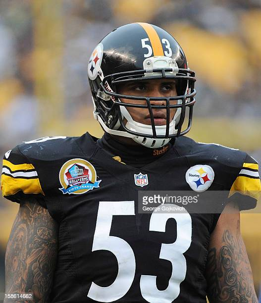 Offensive lineman Maurkice Pouncey of the Pittsburgh Steelers looks on from the sideline during a game against the San Diego Chargers at Heinz Field...