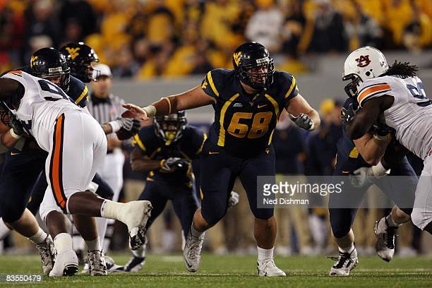 Offensive lineman Mike Dent of the West Virginia University Mountaineers blocks against the Auburn University Tigers on October 23 2008 at Milan...