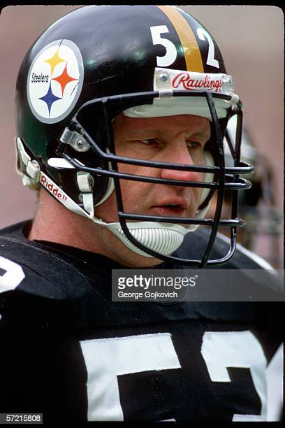Offensive lineman Mike Webster of the Pittsburgh Steelers on the sideline during a game at Three Rivers Stadium in December 1986 in Pittsburgh...