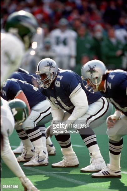 Offensive lineman Nate Newton of the Dallas Cowboys in action against the Philadelphia Eagles at Veterans Stadium on December 10 1989 in Philadelphia...