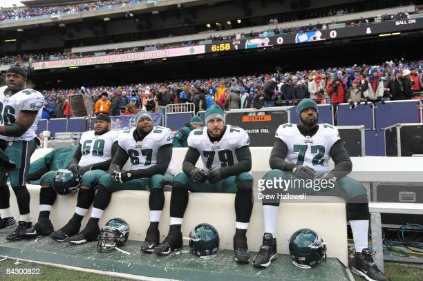 Offensive lineman Nick Cole offensive lineman Jamaal Jackson offensive tackle Todd Herremans and offensive tackle Tra Thomas of the Philadelphia...
