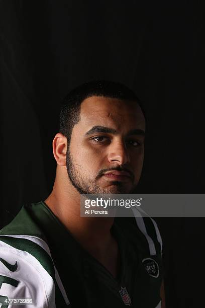 Offensive Lineman Oday Aboushi of the New York Jets appears in a portrait on June 16 2015 in Florham Park New Jersey