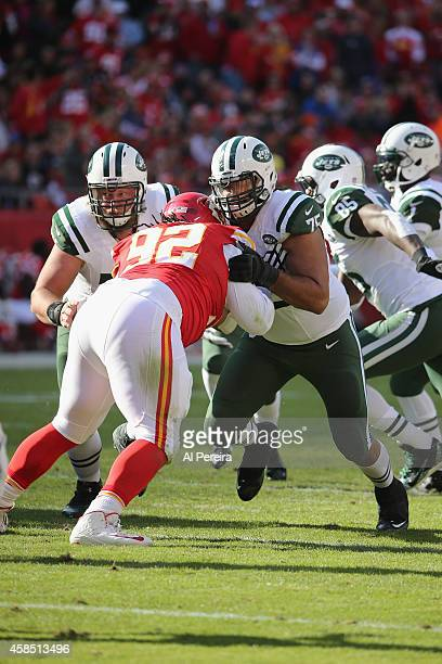 Offensive Lineman Oday Aboushi of the New York Jets blocks against the Kansas City Chiefs at Arrowhead Stadium on November 2 2014 in Kansas City...