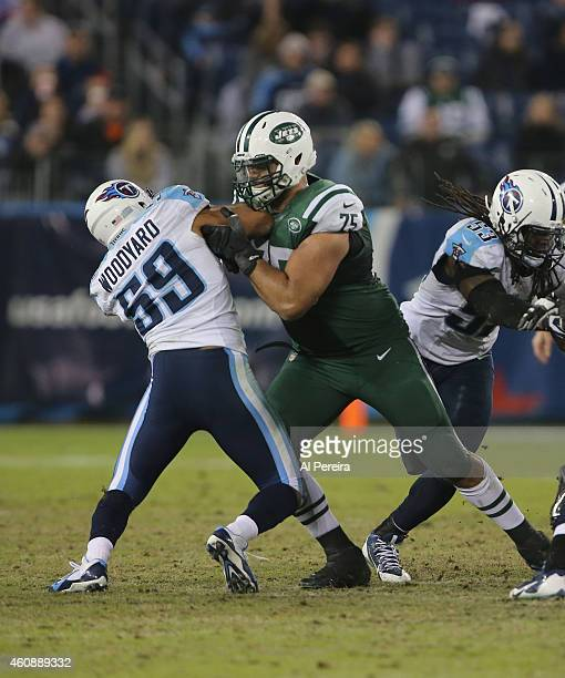 Offensive Lineman Oday Aboushi of the New York Jets blocksagainst the Tennessee Titans at LP Field on December 14 2014 in Nashville Tennessee