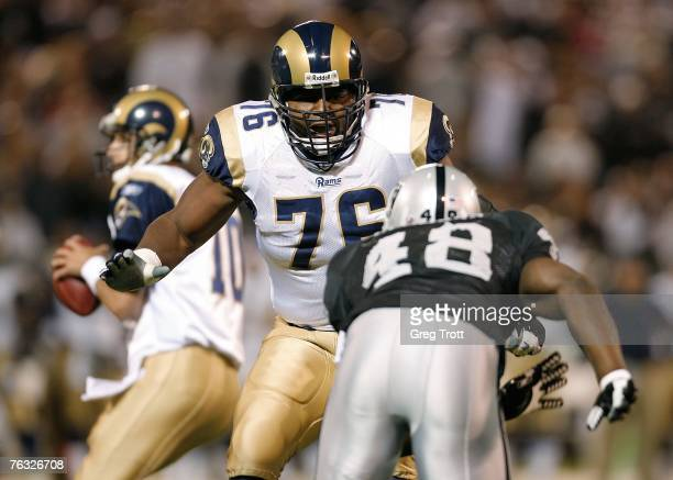 Offensive lineman Orlando Pace of the St Louis Rams against the Oakland Raiders during a preseason game at McAfee Coliseum on August 24 2007 in...
