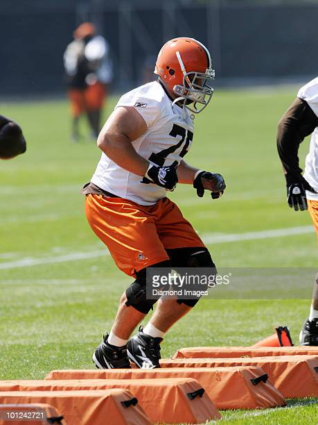 Offensive lineman Pat Murray of the Cleveland Browns performs an agility drill during the team's organized team activity on May 27 2010 at the...
