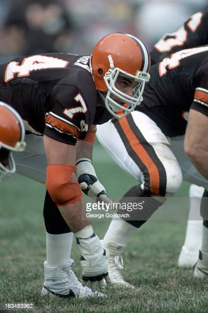 Offensive lineman Paul Farren of the Cleveland Browns blocks against the New York Jets at Municipal Stadium on October 14 1984 in Cleveland Ohio