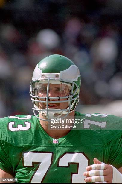 Offensive lineman Ron Heller of the Philadelphia Eagles on the sideline during a game against the New Orleans Saints at Veterans Stadium on October...