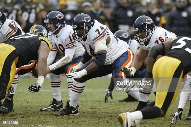 Offensive lineman Ruben Brown of the Chicago Bears blocks against the Pittsburgh Steelers at Heinz Field on December 11 2005 in Pittsburgh...