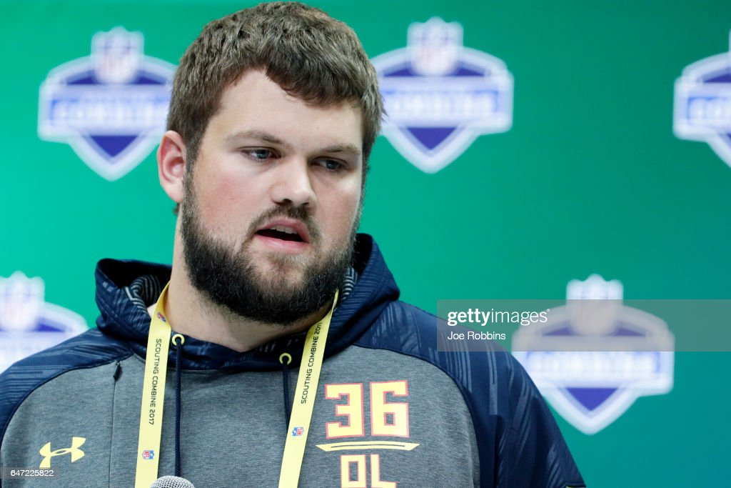 Offensive lineman Ryan Ramczyk of Wisconsin answers questions from the media on Day 2 of the NFL Combine at the Indiana Convention Center on March 2, 2017 in Indianapolis, Indiana.