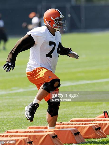 Offensive lineman Scott Kooistra of the Cleveland Browns performs an agility drill during the team's organized team activity on May 27 2010 at the...