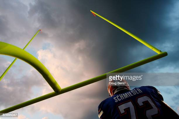 Offensive lineman Shawn Schmieder of the Florida Gators goes through warmups prior to taking on the Miami Hurricanes at Ben Hill Griffin Stadium on...