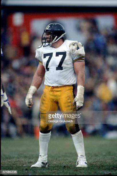 Offensive lineman Steve Courson of the Pittsburgh Steelers between plays during a game against the Baltimore Colts at Municipal Stadium on November...