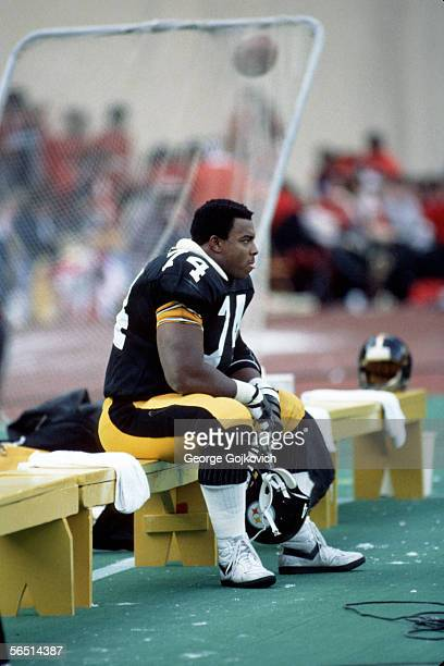 Offensive lineman Terry Long of the Pittsburgh Steelers on the bench during a game at Three Rivers Stadium in 1984 in Pittsburgh, Pennsylvania.