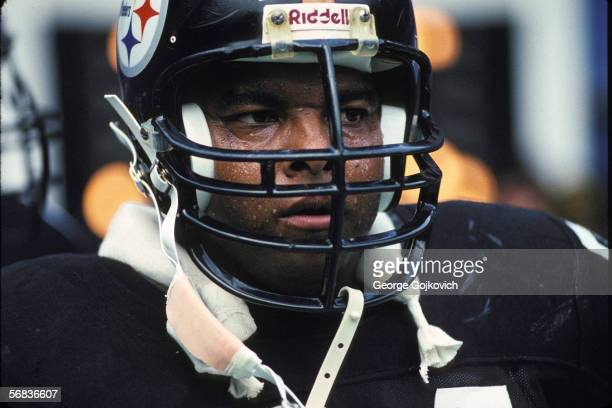 Offensive lineman Terry Long of the Pittsburgh Steelers watches the action from the sideline during a game against the Cincinnati Bengals at Three...