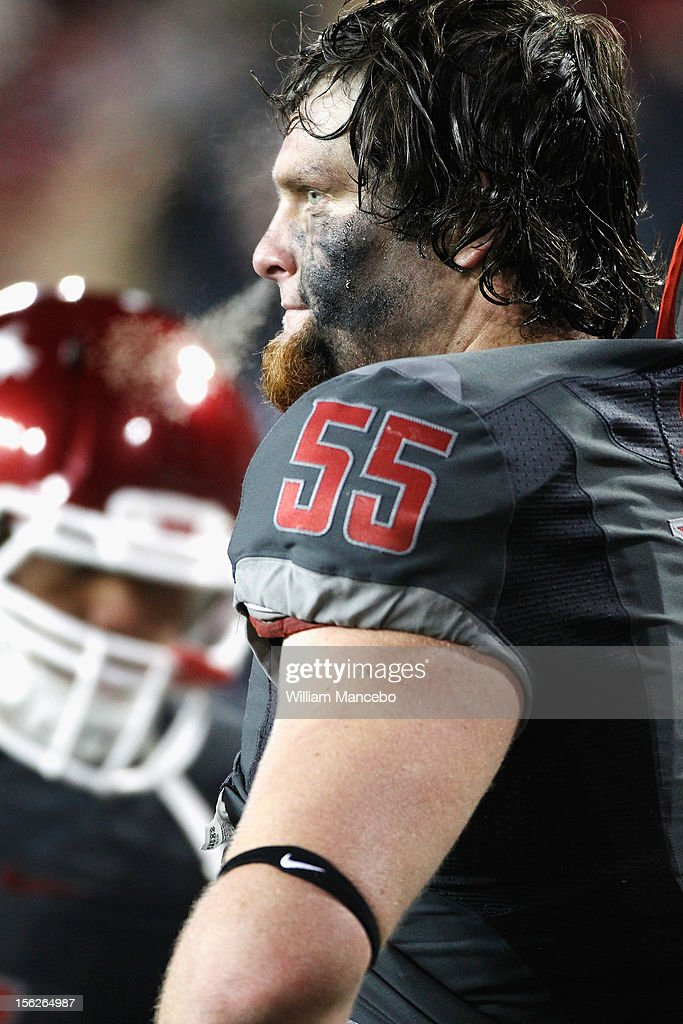Offensive lineman Wade Jacobson #55 of the Washington State Cougars on the sidelines during the game against the UCLA Bruins at Martin Stadium on November 10, 2012 in Pullman, Washington.