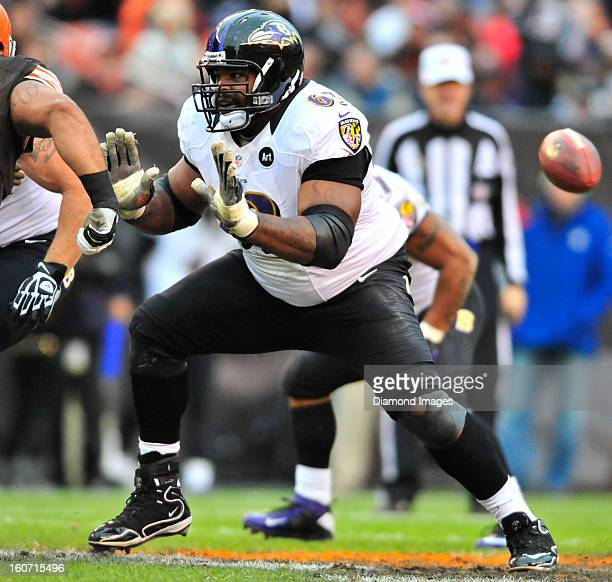 Offensive linemen Bobbie Williams of the Baltimore Ravens looks for someone to block during a game against the Cleveland Browns at Cleveland Browns...