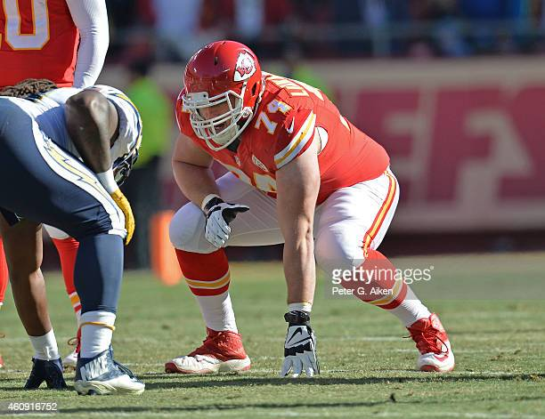 Offensive linemen Jeff Linkenbach of the Kansas City Chiefs gets set on the line against the San Diego Chargers during the first half on December 28...