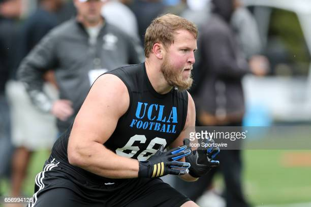Offensive Lneman Conor McDermott during drills in front of NFL scouts during the UCLA Bruins Pro Day on March 21 at Spaulding Field in Los Angeles CA