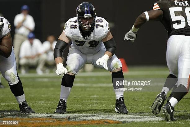 Offensive tackle Adam Terry of the Baltimore Ravens blocks against the Cleveland Browns at Cleveland Browns Stadium on September 30, 2007 in...