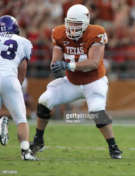 Offensive tackle Adam Ulatoski of the Texas Longhorns looks to make a block during their game against the TCU Horned Frogs on September 8 2007 at...