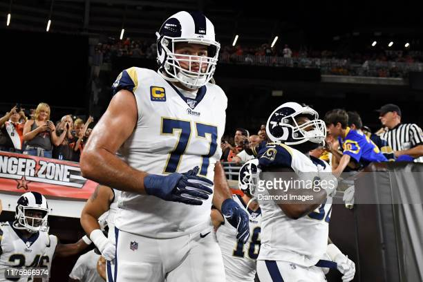 Offensive tackle Andrew Whitworth of the Los Angeles Rams runs onto the field prior to a game against the Cleveland Browns on September 22, 2019 at...